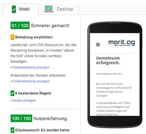 Google PageSpeed insides im grünen Bereich