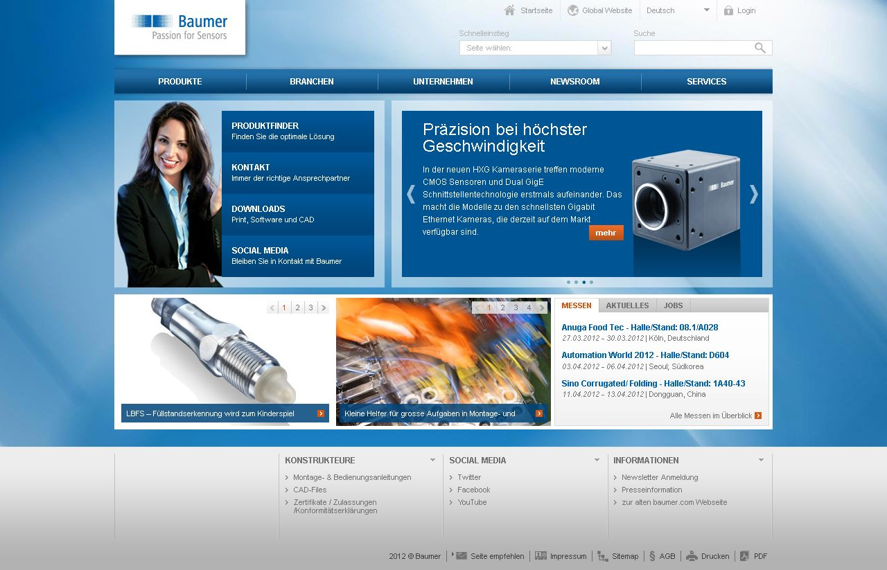 Marit AG: Relaunch Baumer Group Website