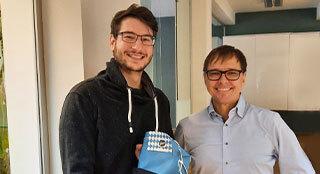 Korbinian Kugelmann und Stefan Bauer im Rahmen des Firmenjubiläums