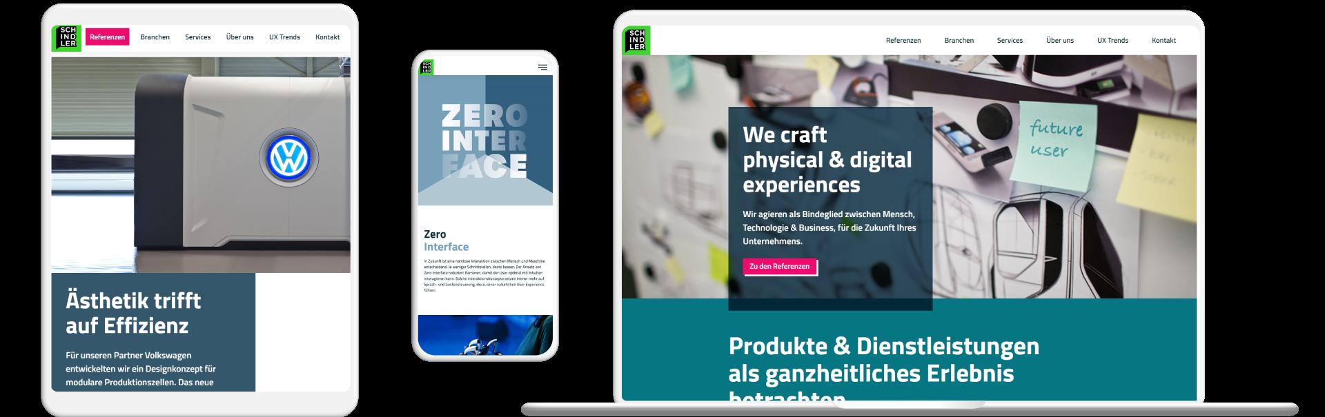 Screenshots Website Schindler Creations
