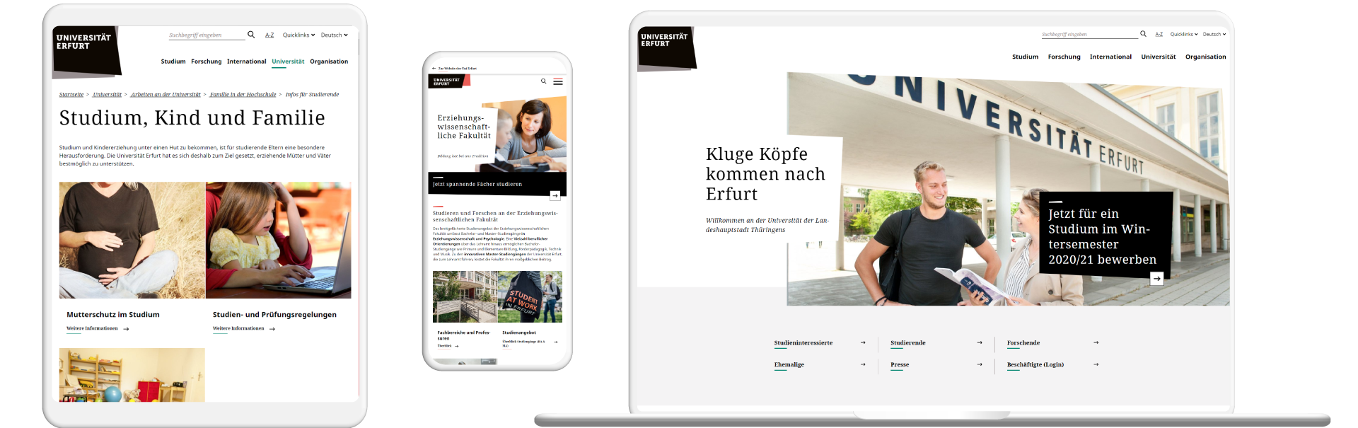 Screens der Website Uni Erfurt