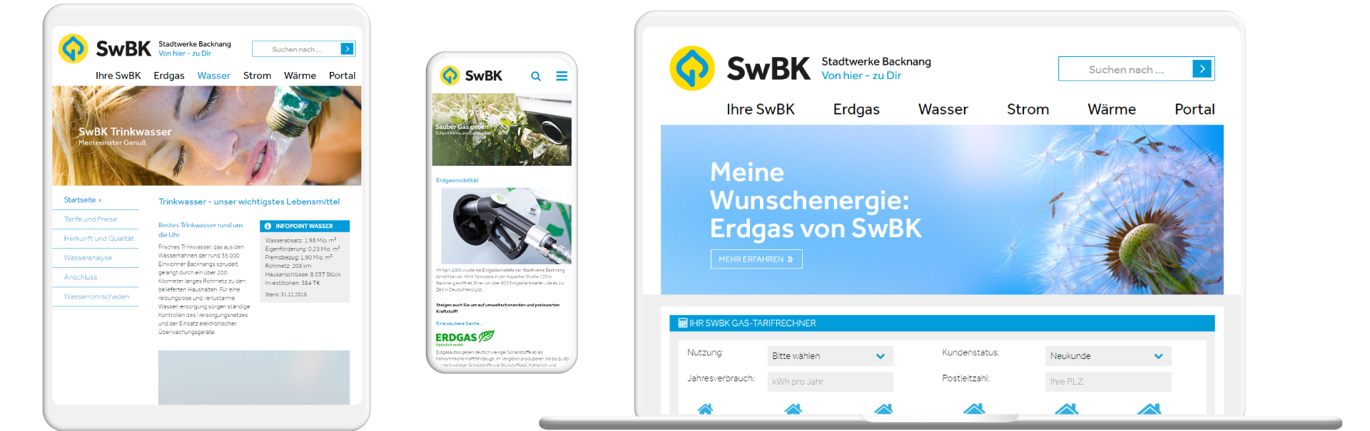 Screens der SwBK-Website