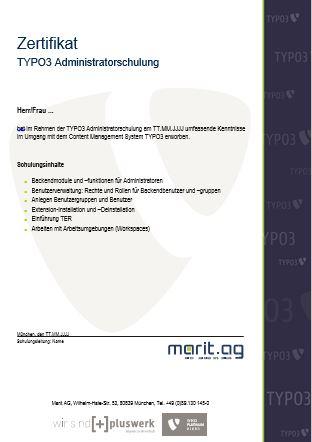 Zertifikat TYPO3 Schulung