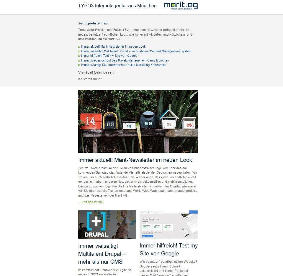 Newsletter Beispiel Marit AG