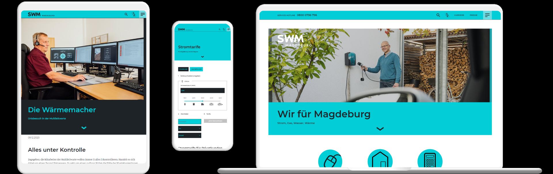 Screenshots Website Stadtwerke Magdeburg